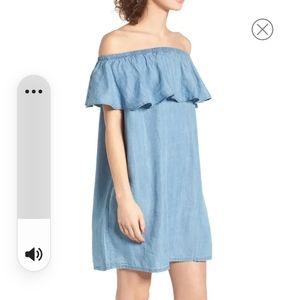 Hinge off the shoulder chambray cover up
